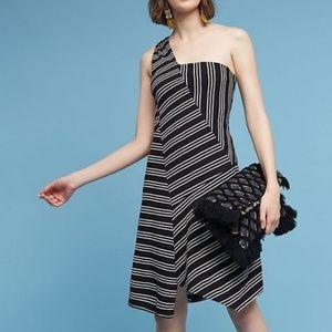 Anthropologie Maeve Moka Striped 1 Shoulder Dress